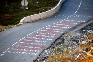 Rider names painted on the road near the top of the Col.