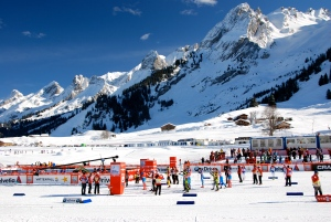 The cross country stadium against the stunning backdrop of the Aravis Range.