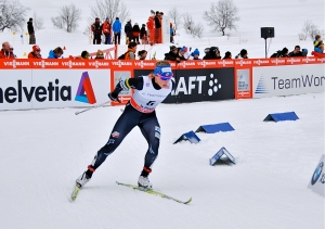 The USA's Kikkan Randall midway through the women's 10km Classic race.