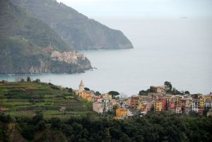 The villages of Corniglia and Manarola in Cinque Terra.