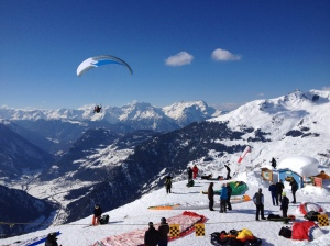 Paraglider launch near the Ruinettes gondola station