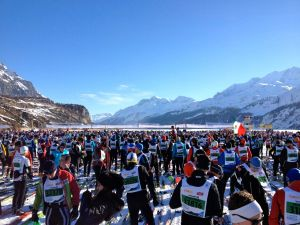 A sea of skiers getting ready for the start.