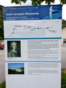 "Interpretive plaque for the ""Via Rousseau"" through the Val de Travers."