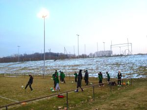 Outdoor practices start in early March. Note the lingering snow.