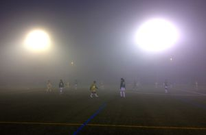 Pretty typical playing conditions in late fall and early spring, cold, dark and foggy.