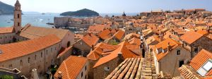 Panoramic of Dubrovnic's historic old town, from atop the protective city walls.