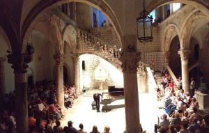 Pianist Gergely Boganyi accepts the applause of the audience at the Rector's Palace in Dubrovnic.
