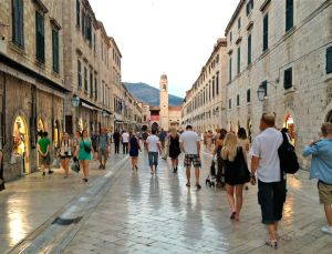 The Stradun, Dubrovnic's main pedestrian throughfare. Note the polished stone.