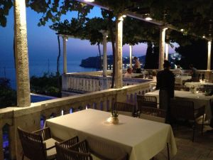 The Victoria Restaurant overlooks the Adriatic, with Dubrovnic's old town in the distance.
