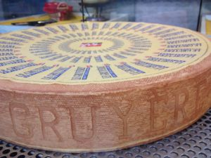 It takes 400 litres of milk to make one 35kg round of Gruyere cheese.