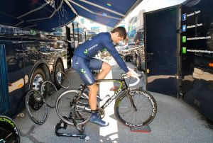 Warming up in the Movistar pit area.