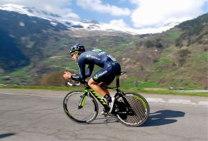 Movistar's Rui Costa on course. Costa would go on to become World Road Race Champion this year.