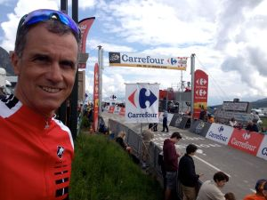 Yours truly at the top of the col de la Madeleine, awaiting the arrival of the Tour de France peloton.