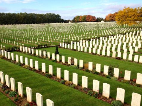 La Targette cemetery. British graves in the foreground, French behind.