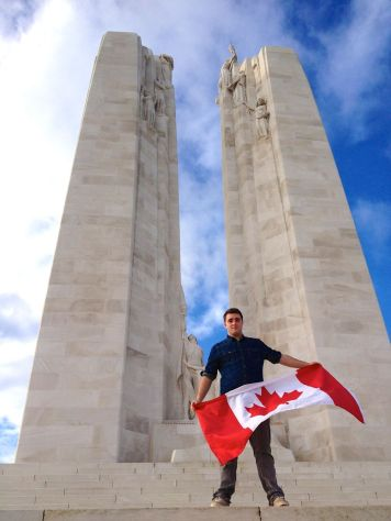 Lachlan honouring Canada's war dead at Vimy.