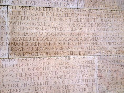 The names of over 11,000 Canadians who went missing in battle and were presumed dead are carved into the bae of the monument.