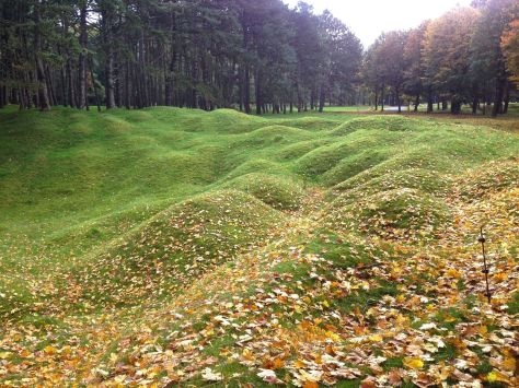 Remnants features of the WWI battlefield at Vimy.