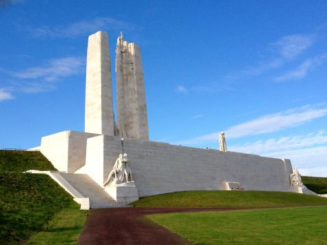 The front of the Vimy memorial, which faces out over the Douai plains.