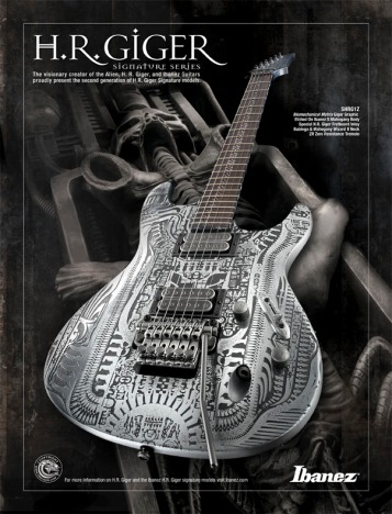 One of Giger's designs for a line of electric guitars for the manufacturer Ibanez.