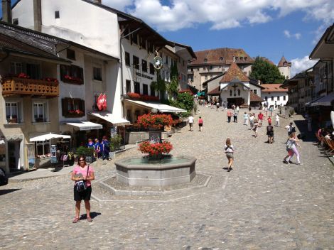 Gruyere's charming, cobblestone and pedestrian-only main street.