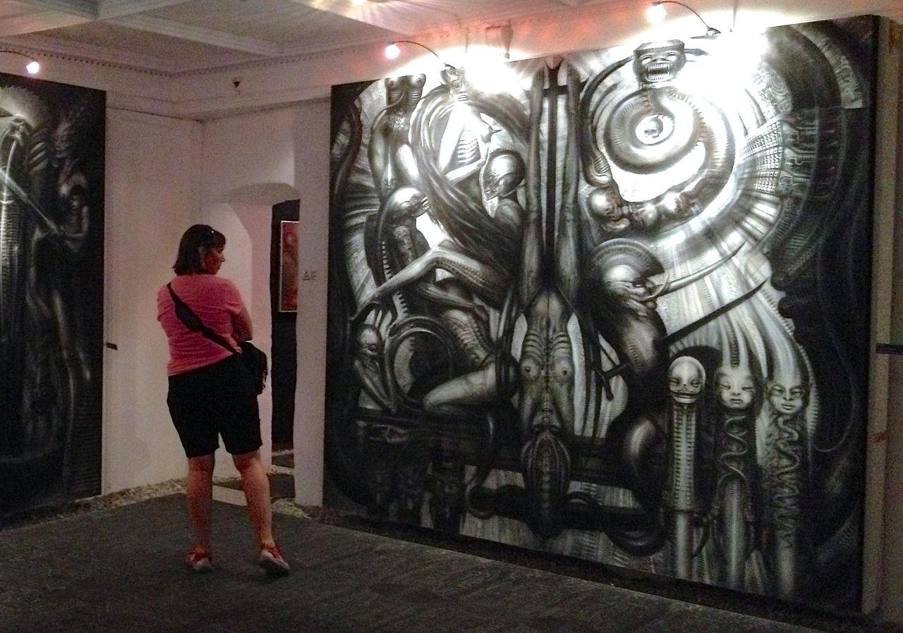 One of Giger s large airbrush canvasses. ALIEN ated in Gruy re  the frightening imagination of H R  Giger