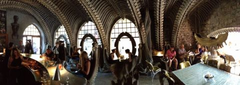 Panoramic of the Giger Bar interior.