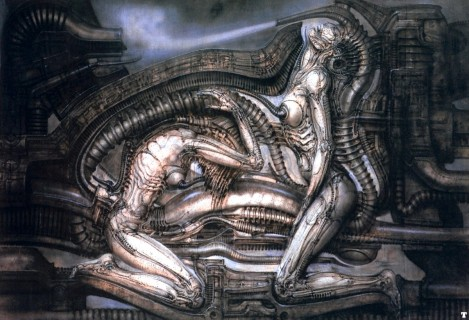The melding of flesh and machine - Giger's biomechanics - is evident in this painting (not in the museum collection)