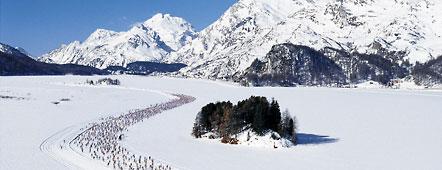Thousands of xc skiers snaking their way across Lake Sils near the start of the Engadin Ski Marathon, near St Moritz