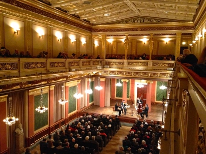A string ensemble performs at the Musikverein.