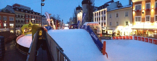 The Dolomitensprints race course set up in downtown Lienz.
