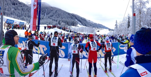 Waiting for the gun to go off in the Dolomitenlauf 42km Classic race.