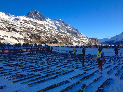 Lining up skis on the Elite start grid an hour before race time.