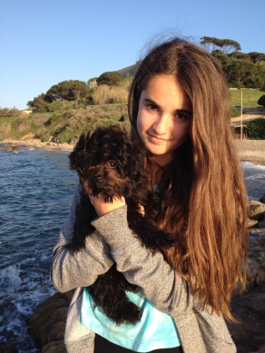 Emma with Coelle in St. Tropez, France.