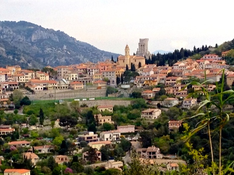 The Trophee des Alpes, clearly visible (behind the church) overlooking the town of La Turbie.