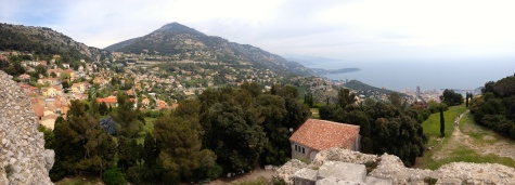 Coastal view, looking east towards Italy from the town of La Turbie.