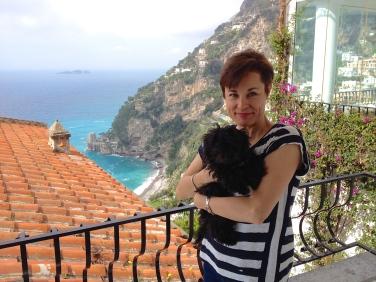 Enjoying the view in Positano.