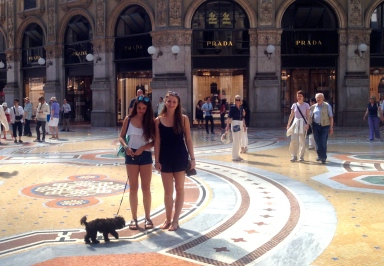 Checking out the shops in Milan.