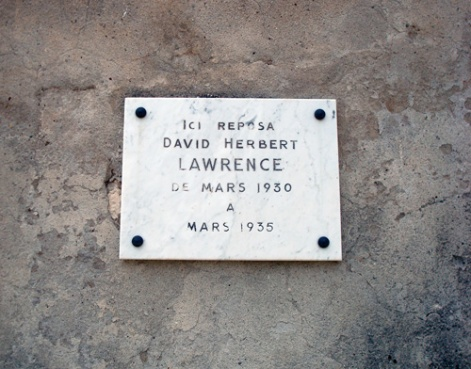 A plaque marks DH Lawrence's resting place from 1939-35.