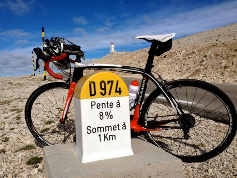 One kilometre to go on the Mt Ventoux.
