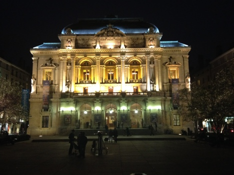 Theatre des Celestins at night.