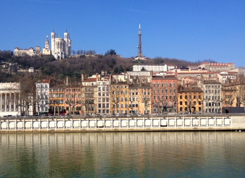 Vieux Lyon and Fourviere hill, as seen from the banks of the Soane. The Basillica of Notre Dame de Fourviere sites on top of the hill.
