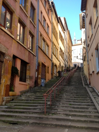 "Heading up one of Vieux Lyon's many ""traboules""."