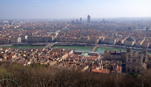 Lyon and the Soane river, as seen from Fourviere.