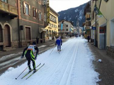 Skiing down mainstreet.