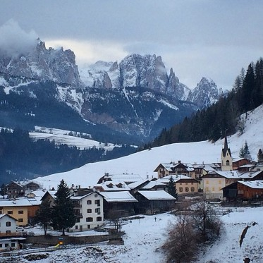 Looking up the Val di Fassa from Moena.