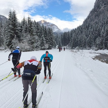 Checking out the upper part of the course on Thursday morning, with a few centimetres of fresh, natural snow!