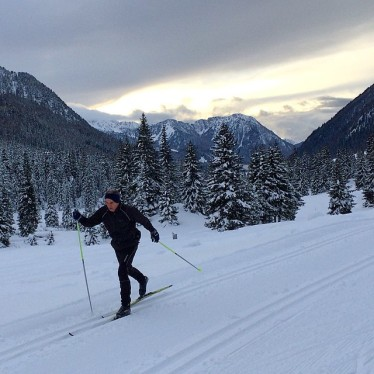 Skiing at sunset in the Passo San Pellegrino.