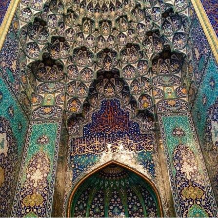 The ornately beautiful mirhab indicates the direction of Mecca.